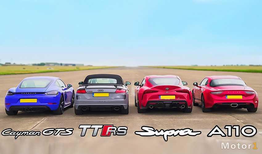 درگ تویوتا سوپرا با آلپاین A110، آئودی TT RS و پورشه کیمن GTS