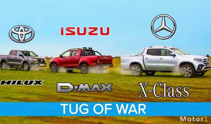 طنابکشی تویوتا هایلوکس با ایسوزو دی مکس و بنز X کلاس