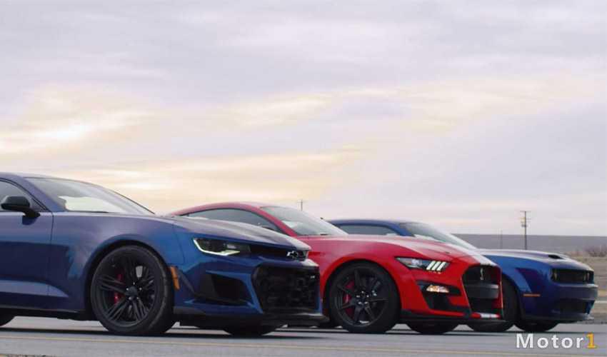 درگ کامارو ZL1 1LE با موستانگ GT500 و چلنجر هلکت Redeye
