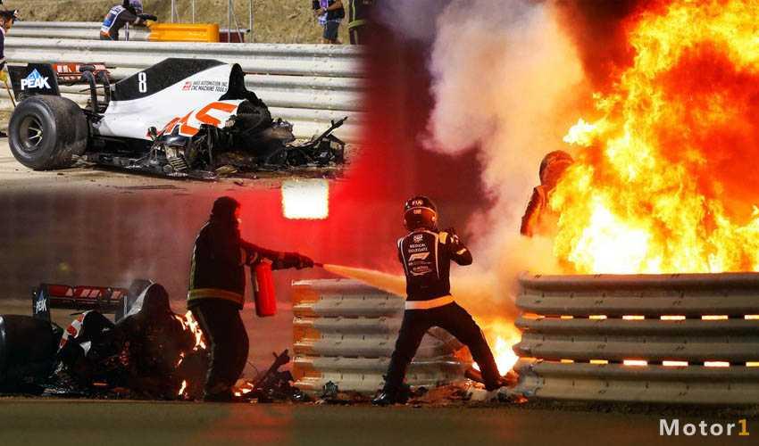 تصادف فرمول یک بحرین ؛ برخورد وحشتناک رومن گروژان