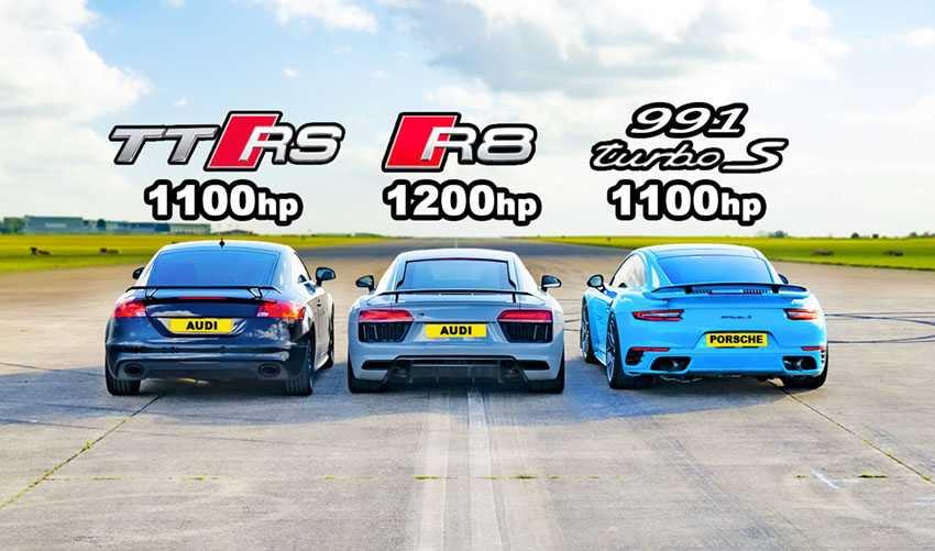 مسابقه درگ ۳۴۰۰ اسب بخاری آئودی TT RS ، R8 و پورشه ۹۱۱ توربو S